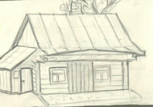 Taip kažkada atrodė Ariogalos gaisrininkų namelis. Piešinys iš Ariogalos gelbėtojų ugniagesių archyvo. Tarpukario laikai.