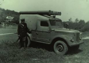 Gaisrų gesinimo siurblys sumontuotas ant džipo GAZ-69. Itin reta automobilio versija. Apie 1970 metus. (Iš Ariogalos gelbėtojų ugniagesių archyvo).