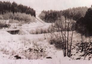 Kelias į Betygalą. Tiltas per Kirkšnovę. 1980-85 metai. Iš S.Bakanausko archyvo.